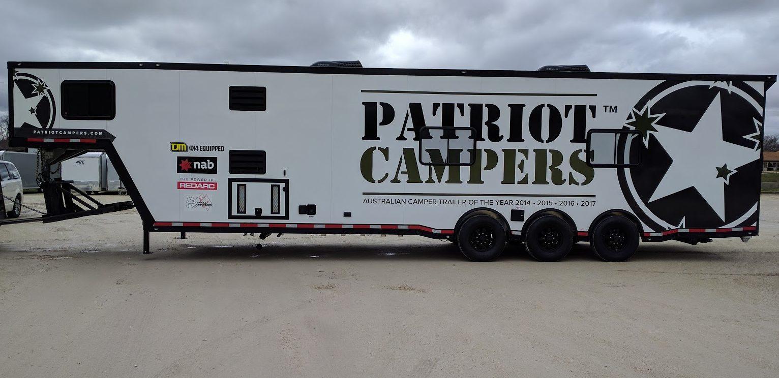Patriot Campers wrap, large camper wrap, exterior camper wrap, camper graphics