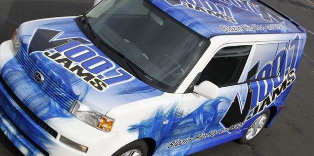 business vehicle wrap, radio station vehicle wrap, blue toned wrap, full vehicle wrap