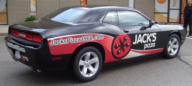 Jacks Pizza vehicle wrap, pizza delivery wrap, Jacks business vehicle wrap