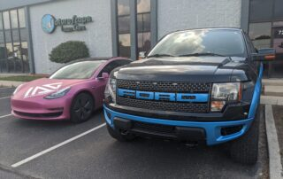 Blue truck accents